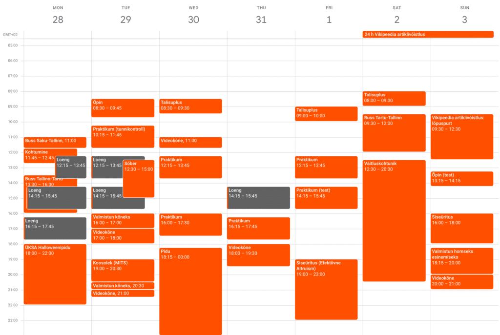 Minu tavaline nädal 2019 sügisel (kiire elu)